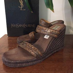 Vintage YSL Wedge Sandals size 8